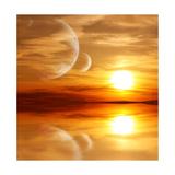 Sunset In Alien Planet Prints by  frenta
