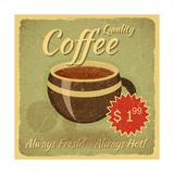 Grunge Card With Coffee Cup Kunstdrucke von  elfivetrov