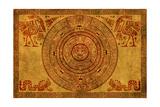 Maya Calendar On Ancient Parchment Art par  frenta
