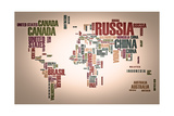 World Map: Countries In Wordcloud Affiches par  alanuster