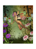 A Flying Fairy With A Lantern Print by Atelier Sommerland