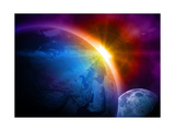 Planet Earth With Sunrise In Space Kunstdruck von  alanuster