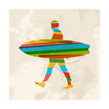 Vintage Multicolor Surfer Poster by  cienpies