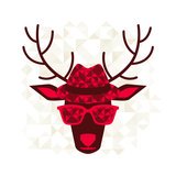 Print With Deer In Hipster Style ポスター :  incomible