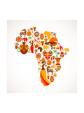 Map Of Africa With Icons Print by  Marish