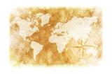 Rustic World Map Affiche par  duallogic