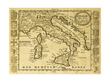 Italy Old Map Print by  marzolino