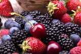 Tasty Summer Fruits On A Wooden Table Impressão fotográfica por  boule