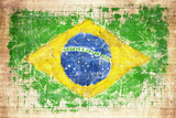 Grunge Flag Of Brazil On Wooden Texture Stampa fotografica di  donatas1205