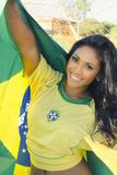 Happy Smiling Brazil Soccer Football Fan.... (Brazil World Cup Finals 2014) Stampa fotografica di  BCFC