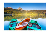 Reflection In Water Of Mountain Lakes And Boats Prints by Leonid Tit