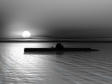 Submarine On A Background Of A Sunset On The Sea Photographic Print by  oneo