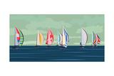 Sailing Yacht Regatta Kunstdruck von  Vertyr