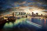 Amazing New York Cityscape - Taken After Sunset Impressão fotográfica por  dellm60