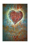 Colorful Grunge Background With Graffiti, Writings, A Heart And A Slight Vignette Kunstdruck von  ccaetano