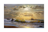 Oil Painting On Canvas , Sailboat Against A Background Of Sea Sunset Affiches par  Lilun