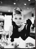 Audrey Hepburn -Breakfast at Tiffanys B&W Kunst op gespannen canvas