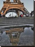 Rain Puddle Reflections Paris Stretched Canvas Print by AJ Messier