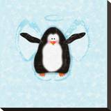 Penguin In Snow Angel Bedruckte aufgespannte Leinwand von Janis Boehm