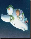 The Snowman and the Snowdog (Flying) Stretched Canvas Print