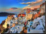 Santorini Sunrise Stretched Canvas Print by Dale MacMillan