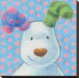 The Snowman and the Snowdog (Snowdog Pattern) Stretched Canvas Print