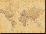 World Map-Vintage Style Trykk på strukket lerret