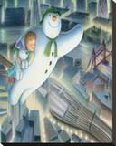 The Snowman and the Snowdog (Over London) Stretched Canvas Print