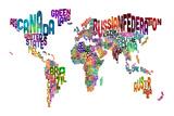 Text Map of the World ポスター : Michael Tompsett