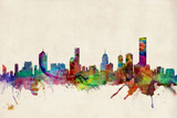 Melbourne Australia Skyline Kunstdrucke von Michael Tompsett
