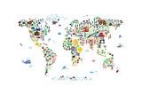 Animal Map of the World Prints by Michael Tompsett