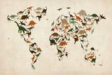 Dinosaur Mapa del Mundo Mapa Láminas por Michael Tompsett