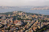 Hagia Sophia and the Blue Mosque, Aerial, Bosphorus, Istanbul, Turkey Fotografisk trykk av Ali Kabas