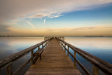 Sunrise on the Pier at Terre Ceia Bay, Florida, USA Stretched Canvas Print by Richard Duval