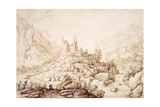 Mountainous Landscape with a Castle, C.1589 Lámina giclée por Hendrick Cornelisz. Vroom