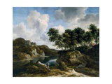 River Landscape with a Castle on a High Cliff, 1670s Gicléedruk van Jacob Isaaksz. Or Isaacksz. Van Ruisdael