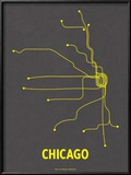 Chicago (Dark Gray & Yellow) Prints by  Line Posters