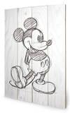 Mickey Mouse Sketched - Single Træskilt
