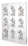 Mickey Mouse Sketched - Evolution of Mickey Wood Sign Treskilt