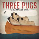Three Pugs in a Canoe Prints by Ryan Fowler