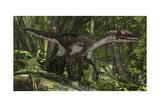 Utahraptor in a Prehistoric Forest Stampe