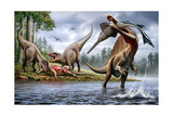 Spinosaurus Hunting an Onchopristis with a Pair of Carcharodontosaurus in Background Stampe