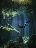 A Freediver in Taj Mahal Cenote in Mexico Fotografie-Druck