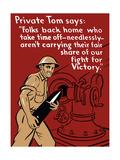World War II Propaganda Poster of a Soldier Loading an Artillery Gun Posters