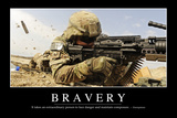 Bravery: Inspirational Quote and Motivational Poster Stampa fotografica