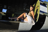 Sexy 1940's Style Pin-Up Girl Sitting Inside of a C-47 Skytrain Aircraft Valokuvavedos