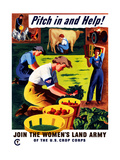 World War II Propaganda Poster of Women Doing Chores on a Farm Poster