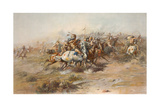 Digitally Restored American History Print of the Battle of Little Bighorn Láminas