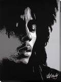 Bob Marley: Eyes Closed in Black & White Bedruckte aufgespannte Leinwand