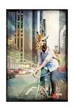 Giraffe on a Bike Premium Giclee Print by  GI ArtLab